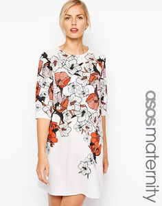 Image 1 ofASOS Maternity Shift Dress in Beautiful Floral Print