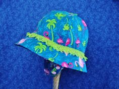 Flamingo Baby Sunhat Royal Blue with Chin Straps by AdorableandCute on Etsy