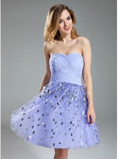 A-Line/Princess Sweetheart Knee-Length Chiffon Tulle Homecoming Dress With Sequins (022019600)