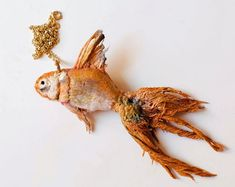 Florals, Beads, and Lace Embellish Whimsical Faux Taxidermy and Anatomical Sculptures Textile Sculpture, Soft Sculpture, Textile Art, Sculptures, Clay Fish, Fish Crafts, Colossal Art, Faux Taxidermy, Vintage Fabrics