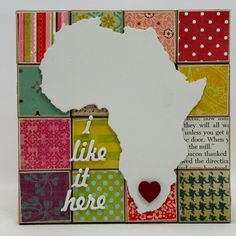 Small wall mount maps of Africa. Backed onto recycled boards with recycled fabric and paper patchwork images and prints. Dimensions 16x16cm. Price: R195.00