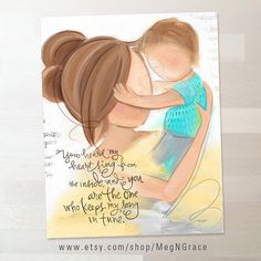 Brunette Mother and Child Child's Room Wall Art por MegNGrace