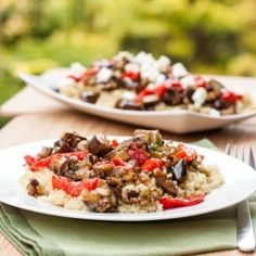 Quinoa with Eggplant and Roasted Red Peppers - perfect gluten free meatless meal (can be made vegan)