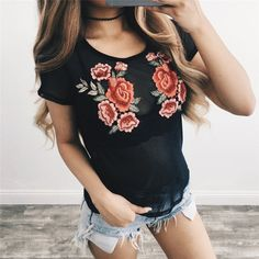 5b233434d6ff New Summer women t shirt fashion cotton female rose flower tops Embroidered  Floral t-shirt camisetas mujer