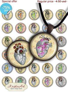 75% OFF SALE Flower Hearts  Digital Collage by KristieArtDesign