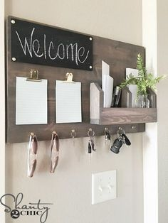 From kitchen command centers to corner wall command centers here are The 11 Best Family Command Centers we could find so you can be organized in no time at all! Organize, home decor, wood, key, welcome. Command Center Kitchen, Command Centers, Diy Wall Decor, Bedroom Decor, Diy House Decor, Wall Decorations, Diy House Ideas, Diy Decorations For Home, Bedroom Plants