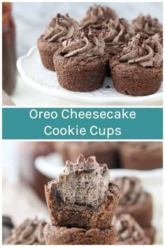 These Oreo Cheesecake Cookie Cups are a fudgy chocolate pudding cookie filled with a no-bake Oreo cheesecake filling. Bite-sized and packed with flavor! #oreos #cookiecups Mini Desserts, Easy Desserts, Delicious Desserts, Health Desserts, Plated Desserts, Oreo Cheesecake Cookies, Chocolate Cheesecake Recipes, Cupcakes, Cupcake Cakes