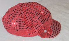 Red Sequined Sparkle Newsboy Hat, Newsboy Cap, Sequined Hat, Sequined Flower, Hat, Fun Hat, Tween Gift, Teen Gift, Casual Wear, Accessory