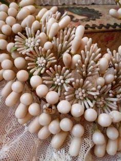 Elaborate French bride's wax wedding crown : tiara : antique period : French faded-grandeur | Ruby Lane Wax Flowers, Tiny Flowers, Orange Blossom Wedding, French Fade, The Crown, Ruby Lane, 3 Things, Flower Crown, Period