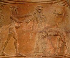 Perseo y la Gorgona, el detalle de una orientalizante pithos relieve (Tebas). Terracota impreso y grabado, arte de las Cícladas, a mediados del siglo VII antes de Cristo. París, Louvre.