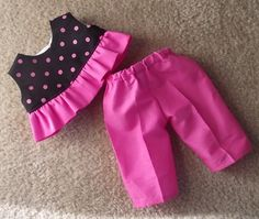18 Doll Pink and Black Outfit by on Etsy Girls Frock Design, Kids Frocks Design, Baby Frocks Designs, Baby Dress Design, Stylish Dresses For Girls, Dresses Kids Girl, Kids Outfits Girls, Baby Girl Frocks, Kids Dress Wear