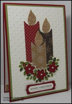 Stampin' Up! ... handmade Christmas card ... variation on the three punch art candles theme ... section of Wondrous wreath with punched red flowers serves as candle base ... lovely card ...