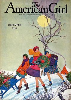 Vintage Magazine Cover - The American Girl, December, 1929 Vintage Vogue, Vintage Ads, Vintage Posters, Vintage Romance, Vintage Santas, Vintage Ephemera, Vintage Travel, Vintage Images, Old Magazines