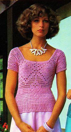 DIY Square-Neck Filet Crochet Short Sleeve Summer Top PDF Vintage Crochet Pattern