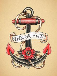 Anker. Old School Tattoo print. #beautytatoos