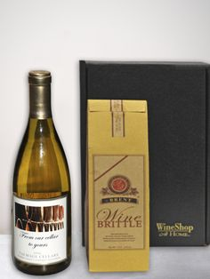 Customized Label -  Chardonnay and Wine Brittle Gift Box. Our personalized Talmage Cellars Chardonnay is specially paired with handmade Wine Brittle from Napa's famous Anette's Chocolates. This Wine Brittle (8 ounces) is created with Chardonnay, gorgeous vanilla overtones, Spanish Peanuts and pure dairy butter. Get it here: https://www.wineshopathome.com/shop/products/personalized-wines/personalized-chardonnay-wine-brittle/?rep=rivkakaminetzky