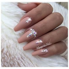 Nude Bling Coffin Nails by MargaritasNailz