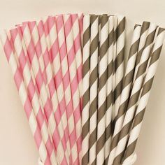 30 Pink and Grey Paper Straw Party Assortment with DIY Flags, Pink Parties, Babys First Birthday, Baby Showers, Paper Drinking Straws on Etsy, $5.50