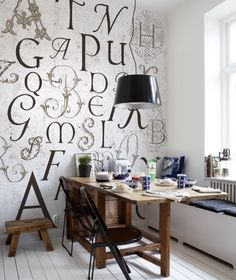 Characters Mural (P130601-6) - Mr Perswall Wallpapers - A photo image of a distressed paper with letters of the alphabet in different calligraphy styles – fun and quirky. Total mural size 270cm wide and 265cm high. SAMPLES NOT AVAILABLE. Paste the wall.