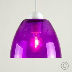 Retro 'York' Domed Ceiling Pendant Light in Purple Finish