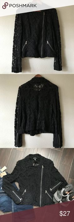 "Black Lace Motorcycle Style Jacket INC size Large Super cute, in great condition. No holes or snags. Black all lace Motorcycle style jacket. INC Size Large. Front zip is off center. Two front zip pockets. Zippers on the cuffs of the sleeves.   74% cotton 26% nylon  18 1/2"" Shoulders 20"" Chest 17"" Waist 20"" Hem 22"" Length 25"" Sleeve  Will ship from my smoke free home INC International Concepts Jackets & Coats"