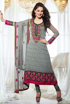USD 65.03 Grey Faux Georgette Embroidered Long Party Wear Salwar Suit 29522