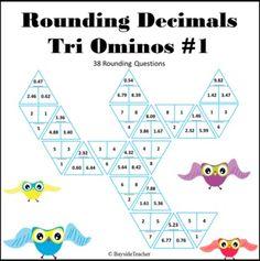 Rounding Decimals Tri Ominos #1 1 Decimal Place, Rounding Decimals, Math 5, Student, Fun, Hilarious