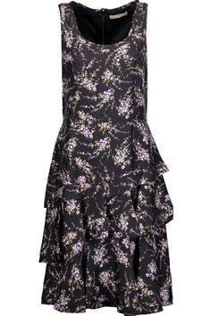 MICHAEL KORS Elderflower floral-print silk-twill dress. #michaelkors #cloth #dress