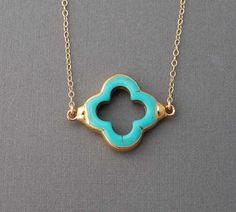Turquoise Four Leaf Clover Gold Necklace also in Silver. $33.00, via Etsy.