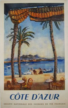 Cote d'Azur original vintage travel poster from 1951 by artist Ceria. French tourism advertisement to visit French Riviera destination. Beautiful beach scene with palm trees and mountains in a background.