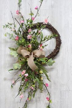 Cherry Blossom Wreath with Burlap Bow Wreaths Spring Wreath Farmhouse Wreath Summer Wreath Front Doo Green Front Doors, Spring Front Door Wreaths, Spring Wreaths, Deco Floral, Burlap Bows, Diy Wreath, Wreath Ideas, Wreath Burlap, Wreath Bows