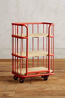 Visby Narrow Wheeled Three-Shelf Bookcase