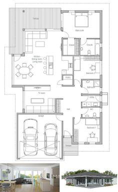 Modern House Plan to narrow lot. House Plan from ConceptHome.com