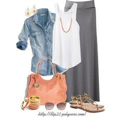 like the light denium shirt with striped long skirt and flowy white tank.