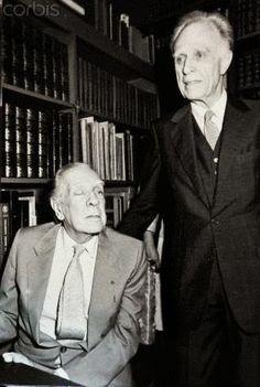 Jorge Luis Borges (L) and Adolfo Bioy Casares in Librería Casares, Buenos Aires,  27 November 1985 -by Alberto Casares-Javier Moreno
