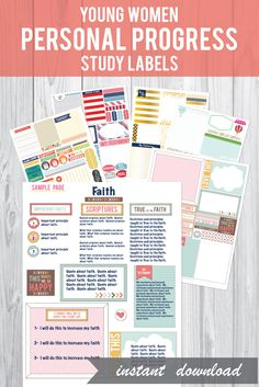These LDS young women personal progress study labels will really help your young women have fun studying each PP experience!  They will LOVE these and keep a really creative and fun record too!