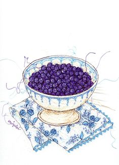 Blueberries | Sewing illustration by Miyuki SAKAI
