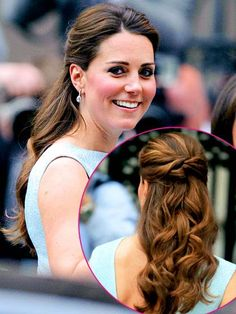 Kate Middleton knows how to do glamorous hair. Follow in her footsteps with this half up do