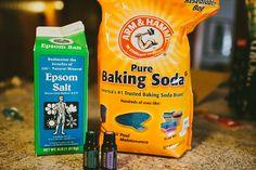 Detox Bath. 2 cups Baking Soda, 2 Cup Epsom Salt, 10 Drops each Lavender, Eucalyptus