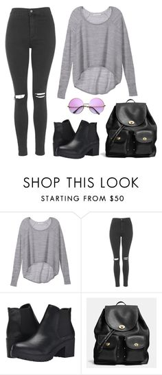 OI by angel534 on Polyvore featuring Victoria's Secret, Topshop, Steve Madden, Coach, Retrò, women's clothing, women's fashion, women, female and woman