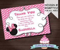 MINNIE MOUSE Birthday Thank You Card, Minnie Mouse Party Ideas, Minnie Photo Invitation, Custom Party Shoppe