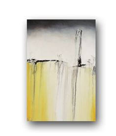 "Canvas Abstract Painting Minimalist Art Shabby Chic Style Large Original Painting Grey White &Yellow Painting Contemporary Art 36"" by Day"
