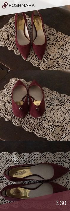 "Michael Kors Heels Beautiful cranberry color suede Michael Kors kitten heels in a size 6. These are in excellent condition! Heel measures approximately 2"". Reasonable offers welcomed and accepted! MICHAEL Michael Kors Shoes Heels"