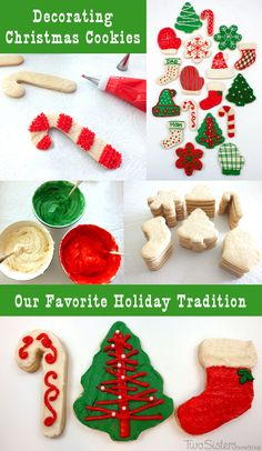 Decorating Christmas Cookies is our favorite holiday tradition and we have the best sugar cookie and frosting recipes as well as tips for throwing your own Christmas cookie decorating party.  Check out this fun way to create festive Christmas Desserts with your family.  For more Christmas Treats follow us at http://www.pinterest.com/2SistersCraft/