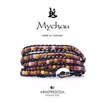 Mychau - Bracciale Vietnam originale realizzato con Mokaite naturale su base bracciale col. Nero