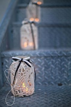 Crochet covered jar candle