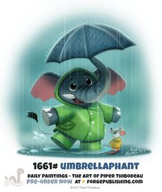 Daily Painting - Umbrellaphant by Piper Thibodeau on ArtStation. Cute Animal Drawings, Animal Sketches, Kawaii Drawings, Cute Drawings, Fantasy Creatures, Mythical Creatures, Pictures To Draw, Cute Pictures, Animal Puns