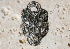 Portuguese GLORIA FLORAL Ring        oxidized sterling silver