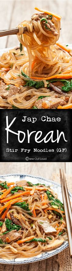 Jap Chae (Korean Stir Fry Noodles - GF) - Healthy, flavorful, chewy, and totally addictive. The first thing to disappear at any potluck. food recipes noodles stir fry Jap Chae (Korean Stir Fry Noodles - GF) - Chew Out Loud Stir Fry Noodles, Korean Noodles, Korean Sweet Potato Noodles, Sesame Noodles, Rice Noodles, Korean Dishes, Cooking Recipes, Healthy Recipes, Ketogenic Recipes