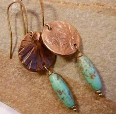 Crane geraniums from my garden, artist-made molds cast in rustic copper...elegant earrings.